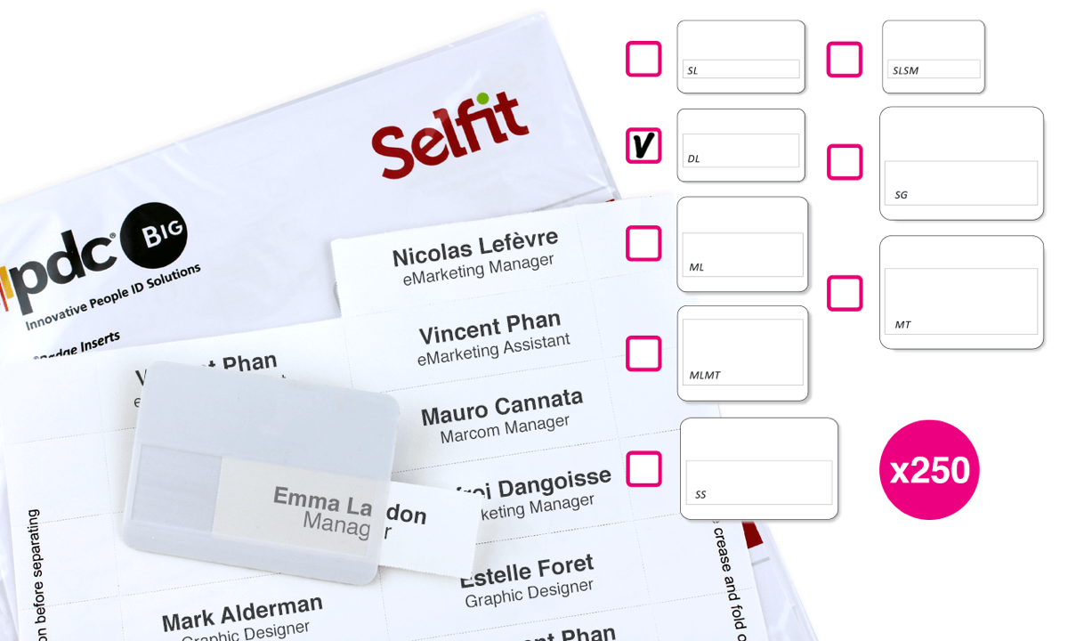 Double line Selfit® Inserts, 70 x 18 mm, White, 250 inserts