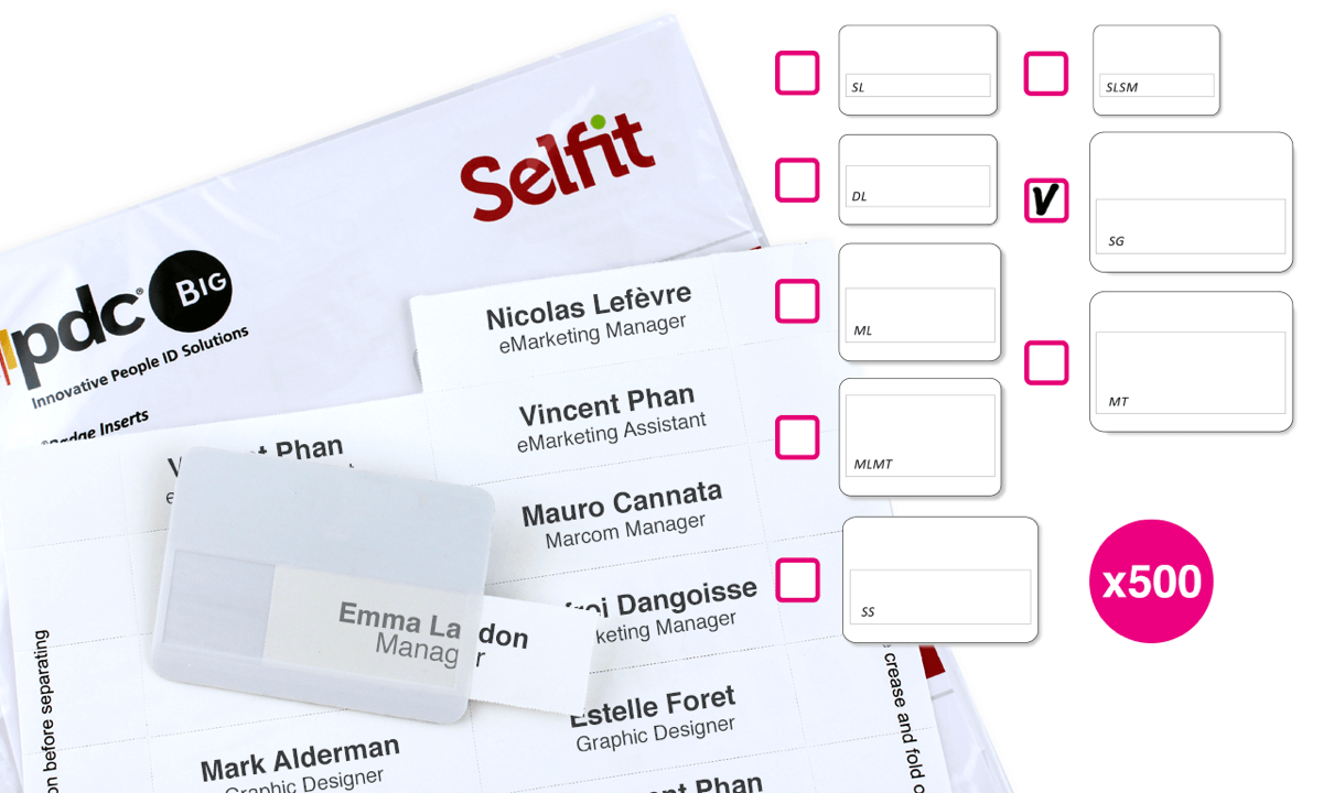 Grande Selfit Inserts,  95 x 24 mm, White, 500 inserts