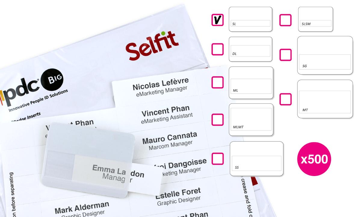 Single line Selfit Inserts, 70 x 12 mm, White, 500 inserts