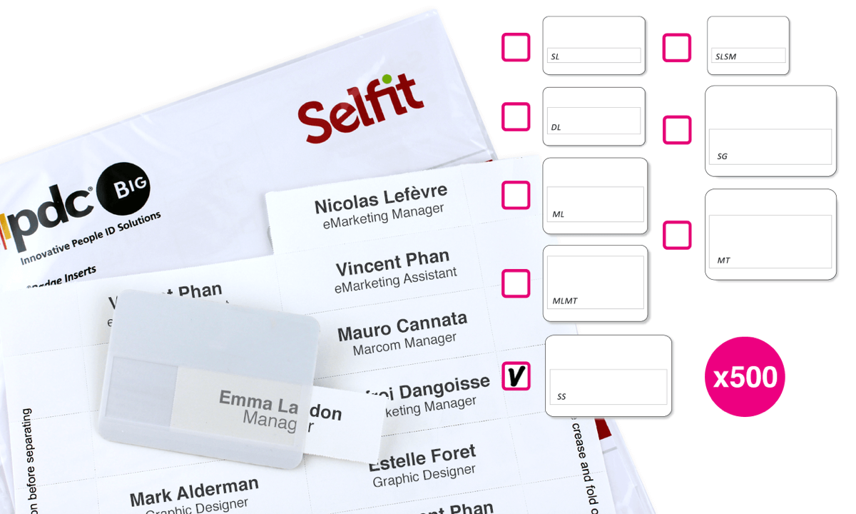 XL Selfit Inserts, 86 x 24 mm, White, 500 inserts