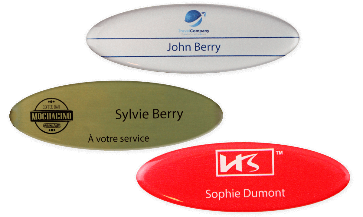 Premium Impress Name Badge, 75 X 32 mm - Oval