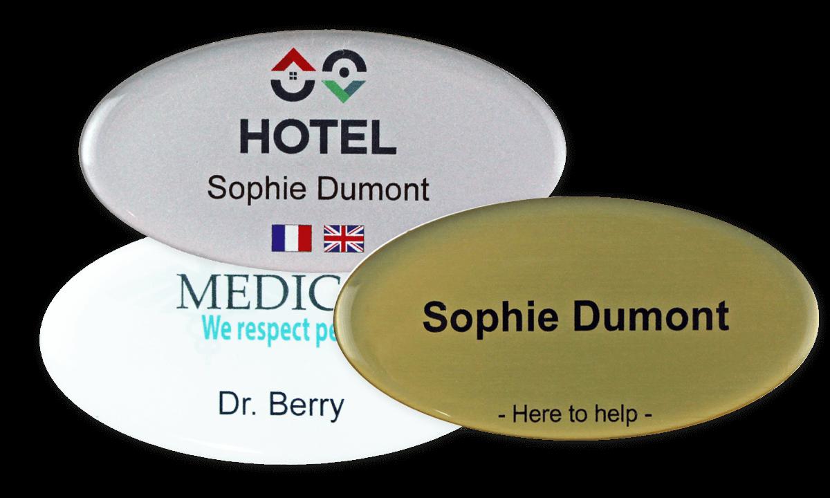 Premium Impress Name Badge, 75 X 38 mm - Oval