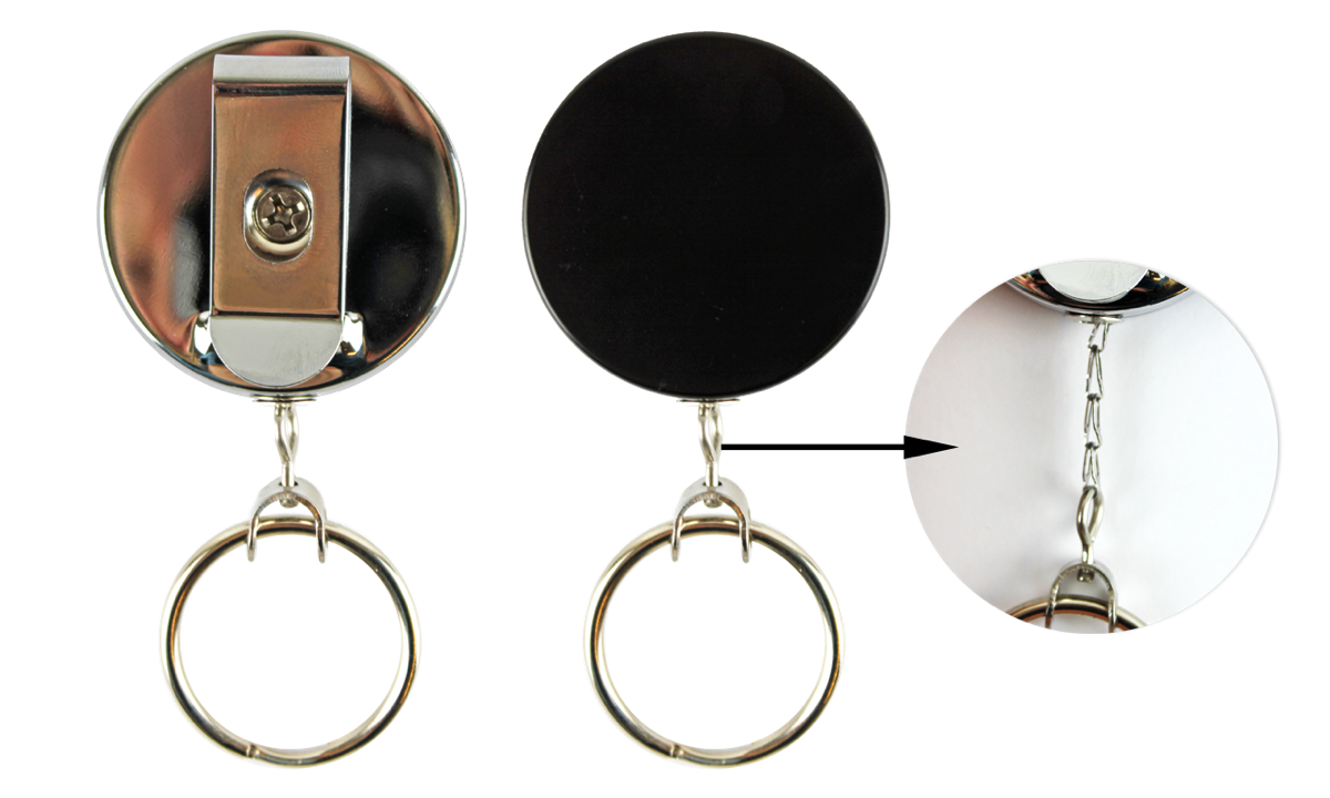 Heavy-Duty Badge-Reel with Chain Cord & Key Ring
