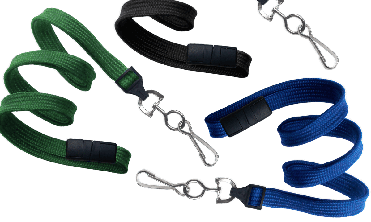 Tubular 10mm Break-Away Lanyards with Metal Swivel Hook