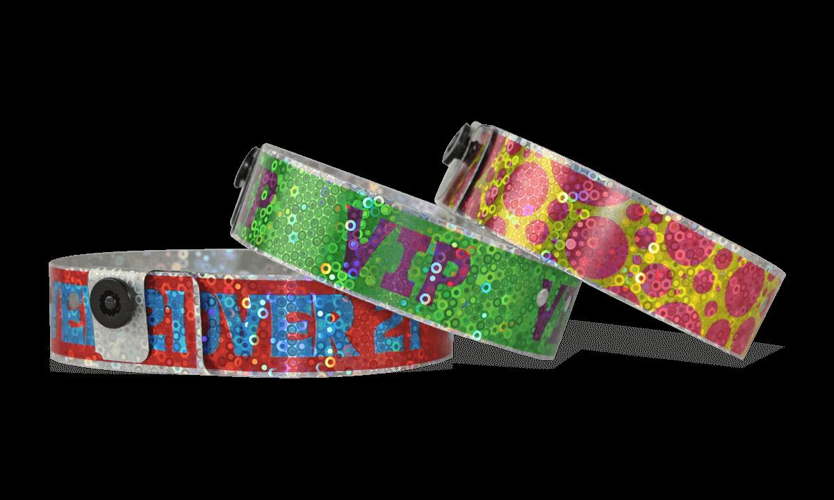 Custom Full-Colour Holographic wristbands 19 mm liquid glitter