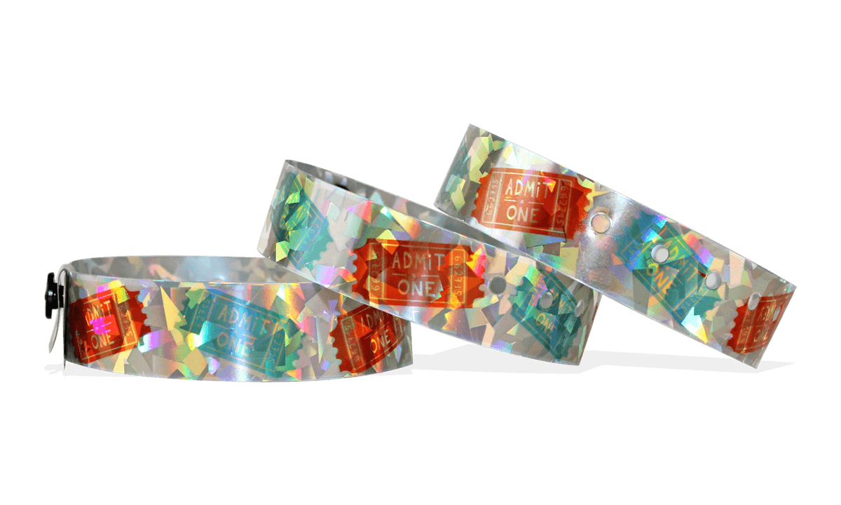 Custom Full-Colour Holographic wristbands 19 mm confetti