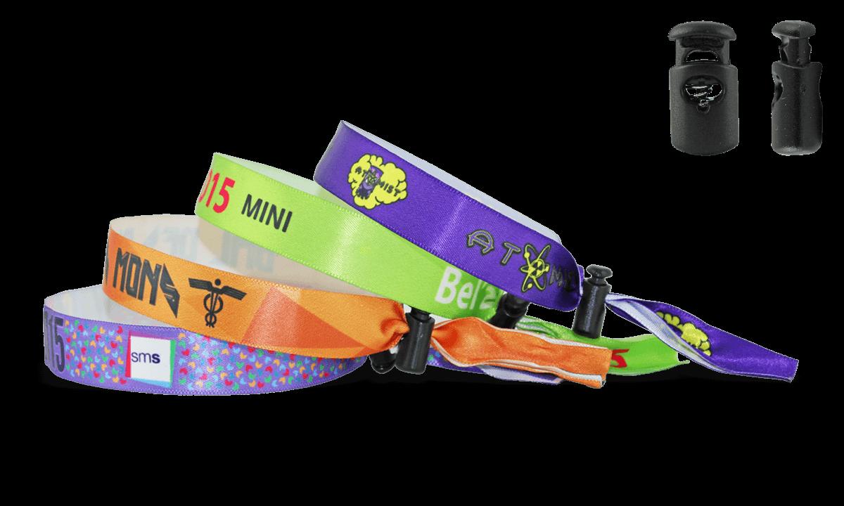 Satin wristbands with reusable plastic closure, Venice