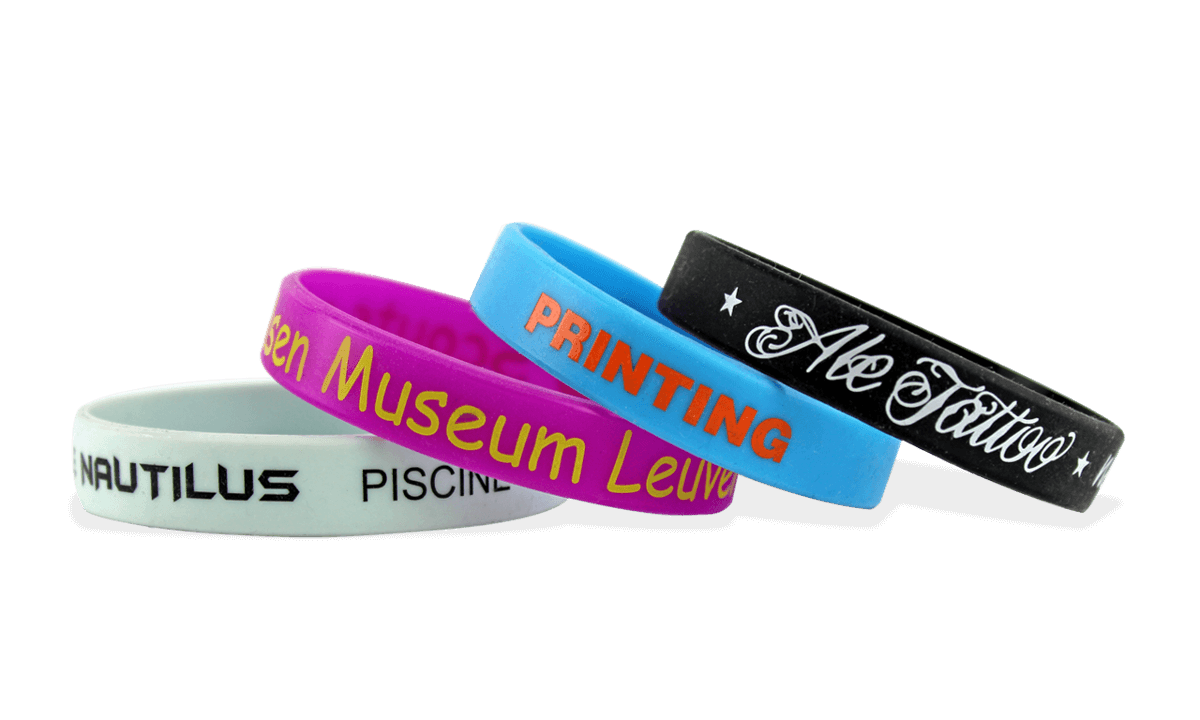 Custom Silicone Wristbands, Small Size, 1-Colour Printed