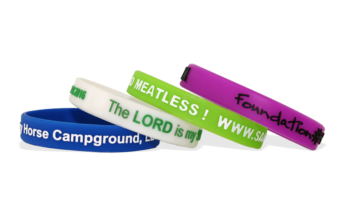Custom Silicone Wristbands, Large Size, Printed Embossed