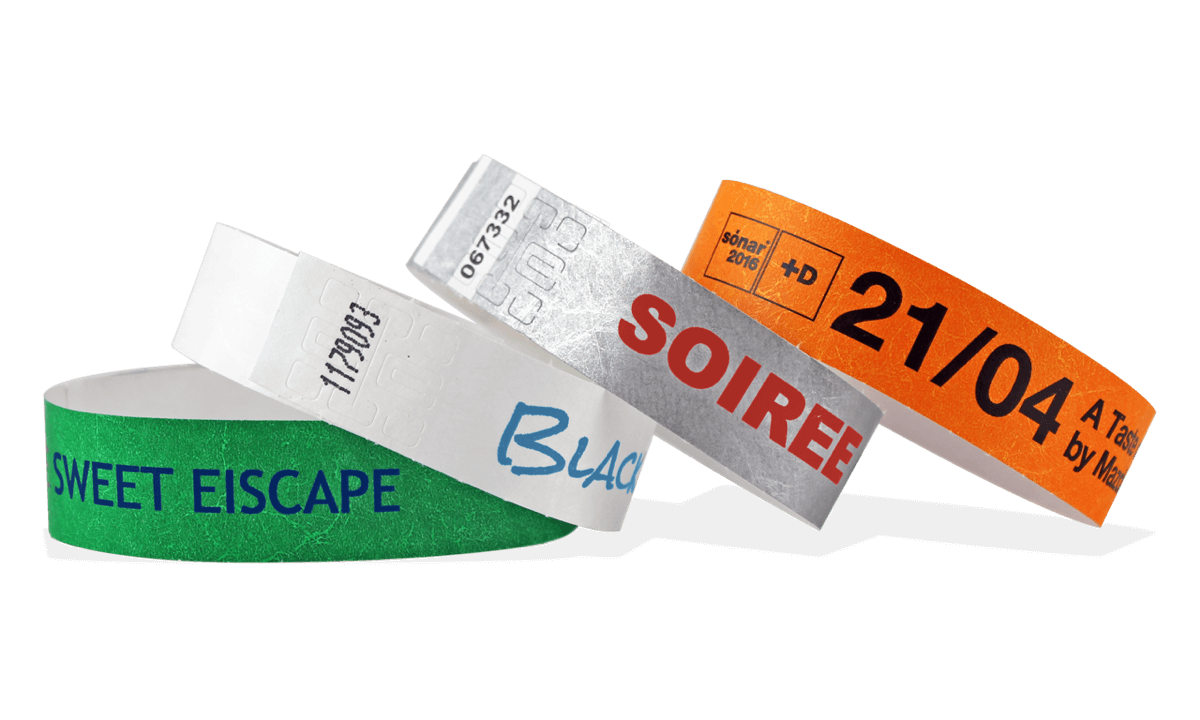 One-colour print Tyvek wristbands 19 mm