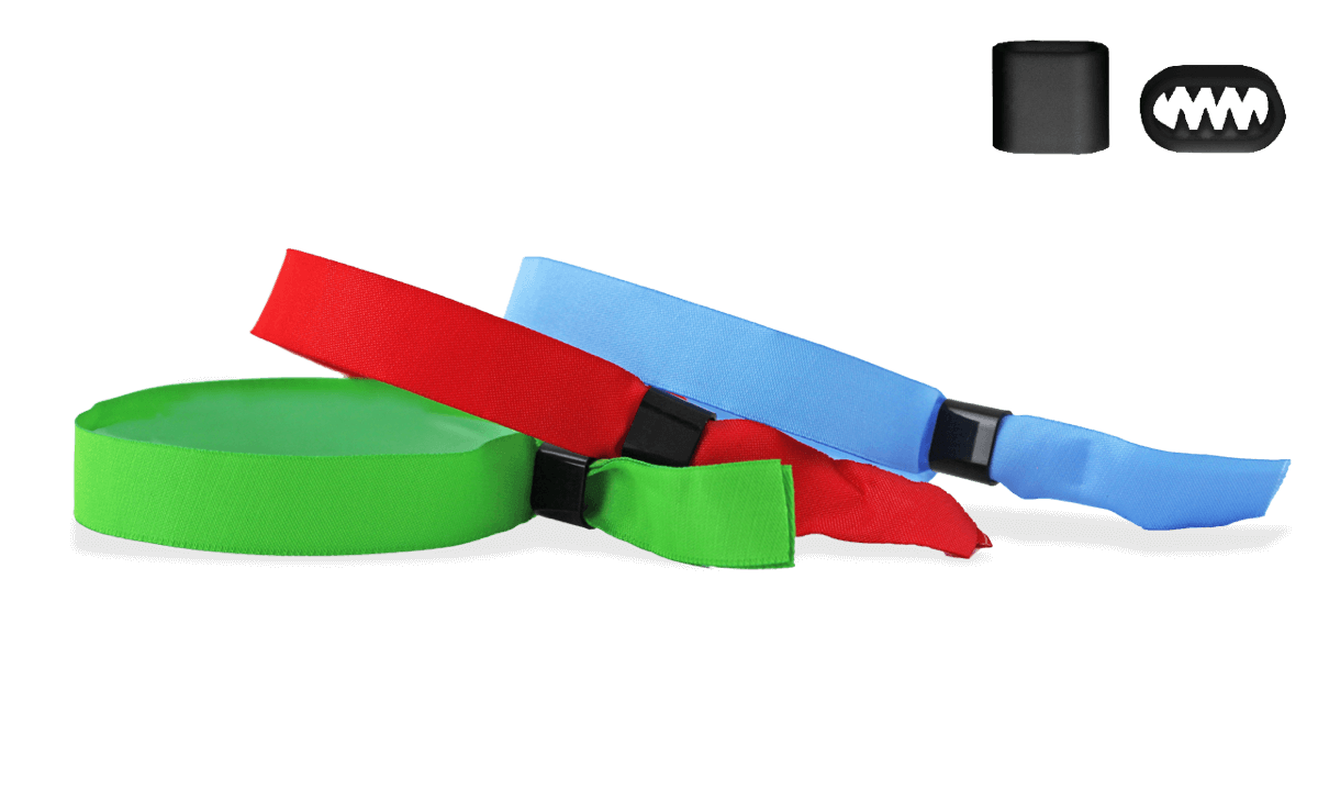 Stock Woven wristbands with plastic flat closure, Berlin