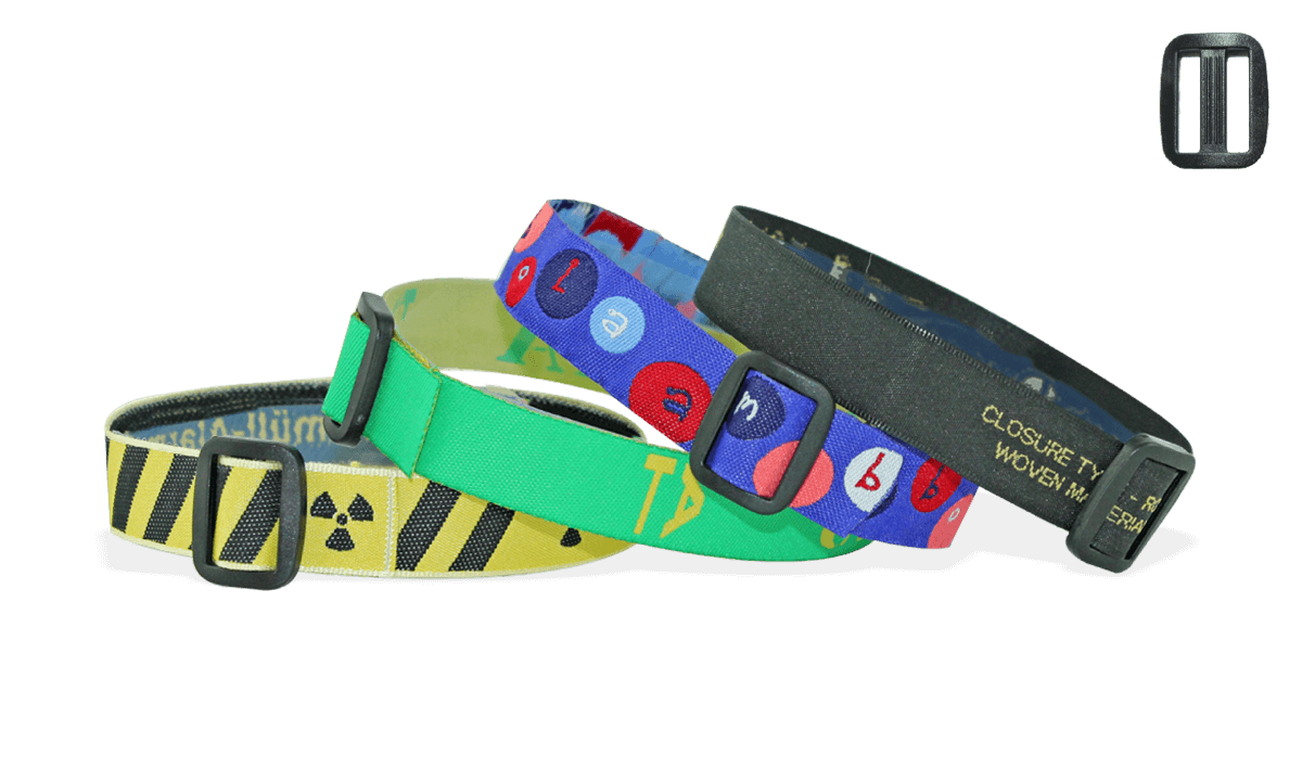 Woven wristbands with reusable plastic closure, Roma