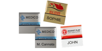 Premium Reusable Name Badge, 32 X 32 mm, 12 mm sticky label