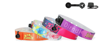 Satin wristbands with plastic round clip closure, Nice