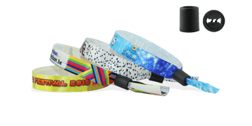Satin wristbands with plastic sliding clip closure, Woodstock