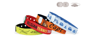 Woven wristbands with vinyl button clip closure, St Tropez