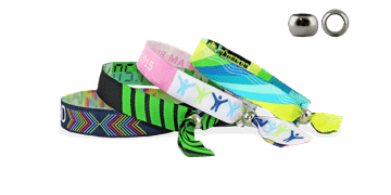 Woven wristbands with metal reusable closure, Las Vegas