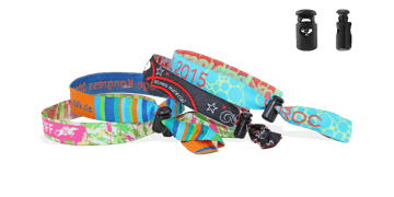 Woven wristbands with reusable plastic closure, Venice